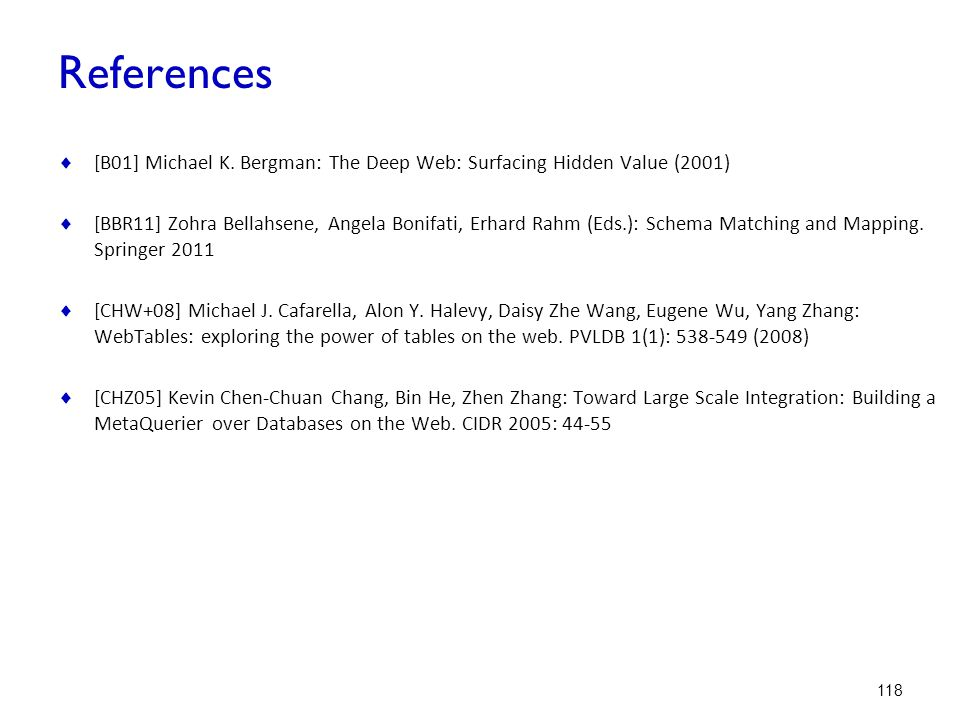 References [B01] Michael K. Bergman: The Deep Web: Surfacing Hidden Value (2001)